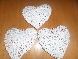 BUNDLE OF 3 WICKER HEARTS 20 X 20 CM