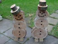 echo friendly wood slice rustic snowman , made from solid wood , last few left