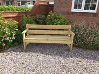 Triple Garden Bench, Sturdy and Rustic