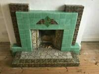 Art Deco 1930's Tiled Fireplace surround and Hearth