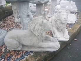 Pair of Large Concrete Lions Garden