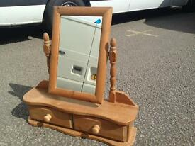 Solid pine dressing table mirror and stand
