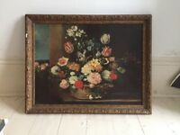 Beautiful Dutch still life painting. Reproduction print in gold frame