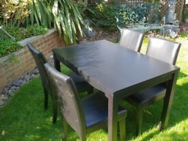Dining Room Table and 4 Chairs - colour black - wood - faux leather