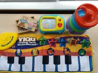Toys: Musical Keyboard Playmat, Musical Rolling TV, Rattle Ball Spiral Roller, Wooden Teddy puzzle