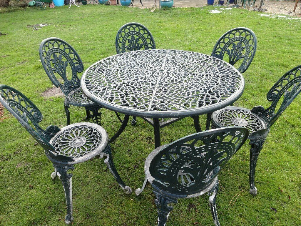 Cast Aluminium Garden Furniture Set Table And 6 Chairs