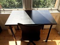 Black IKEA desk and chair