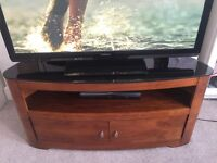 Wood TV stand with Glass top