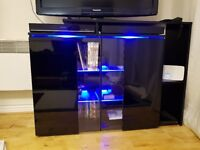Black Gloss Sideboard (TV Stand) with blue LED lights