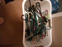 Free wash basket full of clothes hangers