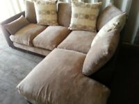 BYRON LIGHT BROWN CORNER SOFA INCLUDES FREE DELIVERY.
