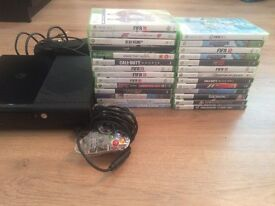 Xbox 360 in black. Comes with one controller and 27 games including FIFA 17