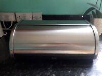 Brabantia bread bin. Roll top. Stainless steel.