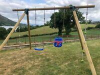 Kids Wooden Swing Set - 1 Swing & 1 Baby Swing with Climbing Ladder & Climbing Rope