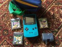 Game boy colour pokemon, super mario, case, rechargeable battery pack