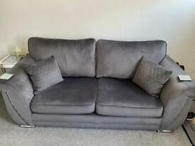 Plush grey velvet 3 seater sofa 3 months old excellent condition