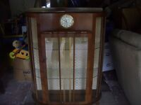OLD DISPLAY CABINET WITH CLOCK & GLASS SHELVES