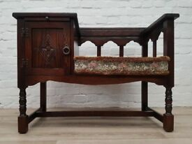 Vintage Oak Telephone Seat (DELIVERY AVAILABLE FOR THIS ITEM OF FURNITURE)