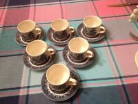 6 Churchill cups and saucers