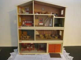 VINTAGE LUNDBY FOUR STOREY GOTHENBURG FURNISHED DOLLS HOUSE WITH CAR