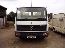 Mercedes 817 flatbed lorry 7.5T carries 3 ton boat, poss to convert to horsebox