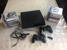 PS3 160GB MODEL CECH3003A WITH 24 GAMES AND 2 CONTROLLERS BLUETOOTH KEYBOARD £85