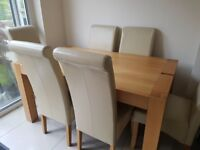 Wooden Table with Cream Chair set
