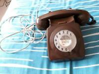 vintage retro brown telephone