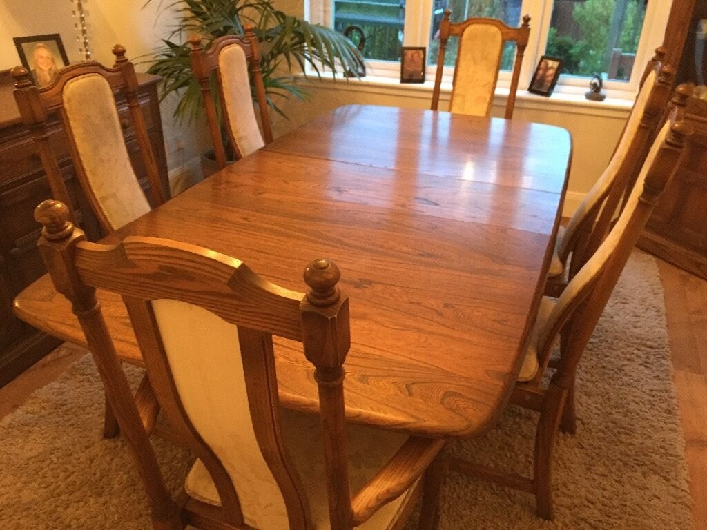 Ercol Dining Table 6 Chairs And Display Cabinet