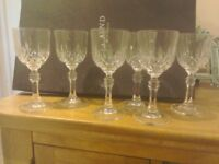 Rystal Glasses( 24%) never used still in box beautiful pattern sherry size great for your xmas tabl