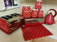 Matching red kitchen set