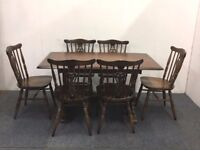 Oak Priory Refectory Dining Table With Six Matching Dining Chairs