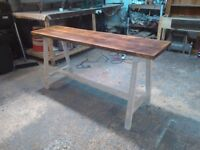 long hall / console table reclaimed rustic timber on a frame base surrey london handmade in uk