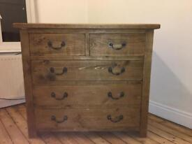 Chunky Rustic pine chest of drawers