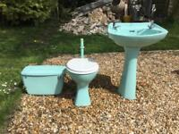 Aqua blue green suite sink toilet free!!!!
