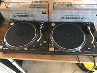 2 x Technics 1200 MK5 K Turntables - Rare + Boxes + Lids + Carts ( 1210 Black )