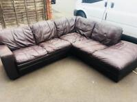 DFS REAL LEATHER BROWN CORNER SOFA 🚚DELIVERY AVAILABLE 🚚