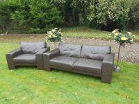 3 Seater + 1 Seater Dark Brown Leather Sofa
