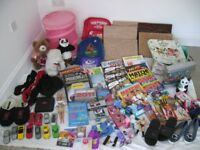 BUNDLE OF CAR BOOT SALE ITEMS BOOKS, SOFT TOYS, CANVAS WALL ART,BARBIE DOLL,