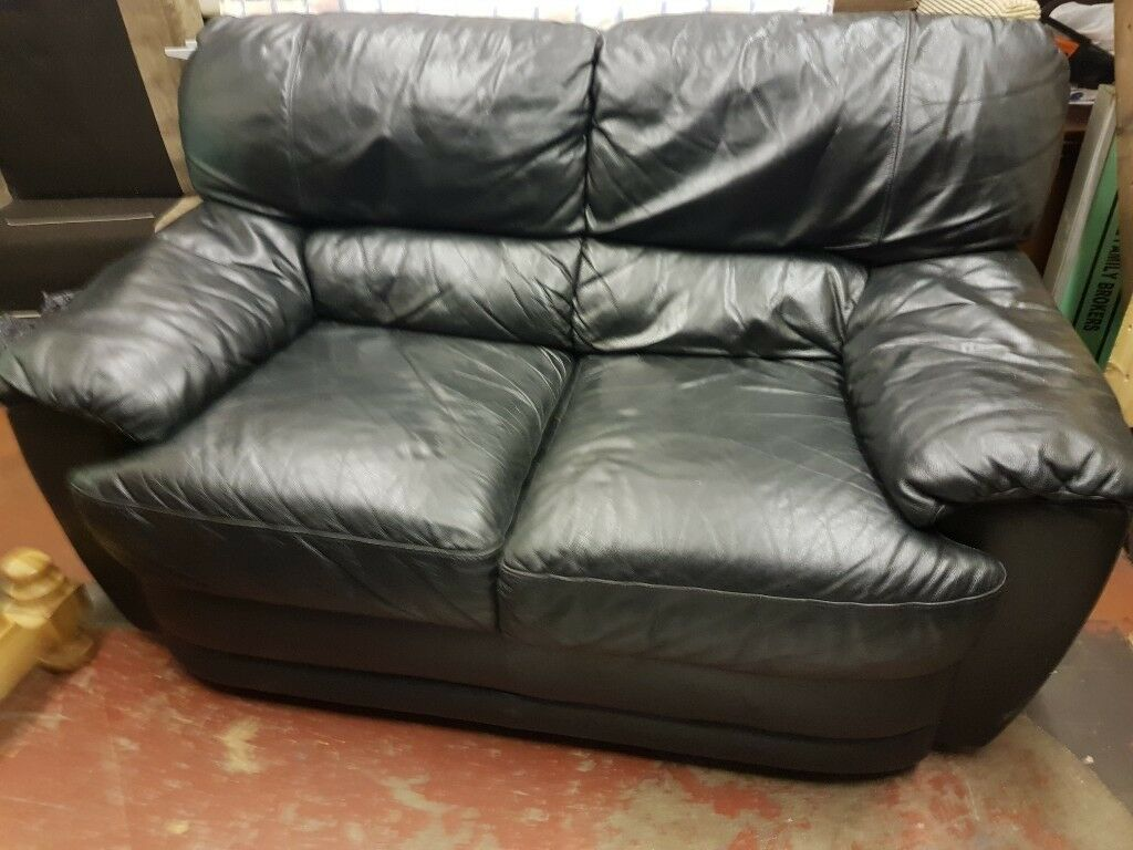 Black Leather Two Seater Sofa Free Delivery In Derby In