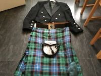 Hunter Ancient kilt with Argyll jacket and waistcoat, sporran, socks/flashes, belt buckle, kilt pin
