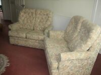 TWO 2-SEATER SOFAS. G-PLAN. COTTAGE STYLE. LIGHT TAPESTRY FABRIC.FOR SALE SEPARATELY OR TOGETHER