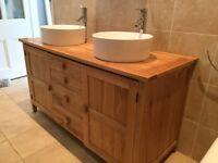 Double sink bathroom vanity unit.