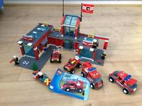 Lego Fire Station & 5 Vehicles+Figures