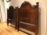 Two mahogany single bed board