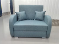Polish one seater sofa bed pink blue - polskie amerykanki z funkcją spania / free delivery