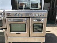 Dual fuel range cooker- stainless steel