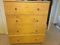 Pine 4 dawer chest of drawers