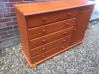 Pine chest of drawers and cupboard. Sideboard