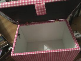 Beautiful Pink Gingham Toy Box Ottoman